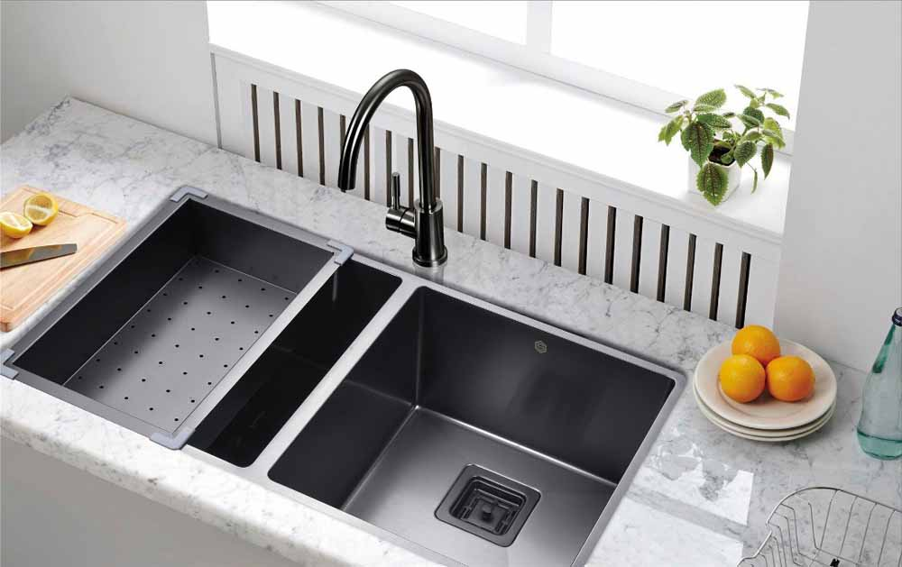 Black Stainless Steel 34 Radius 5050 Square Drain Strictly Sinks