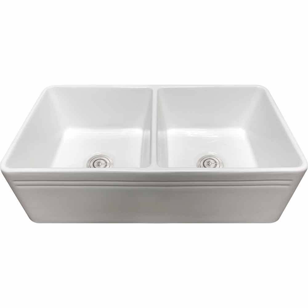 33 Double Bowl White Porcelain Farmhouse Apron Sink 50 50 Strictly Kitchen And Bath